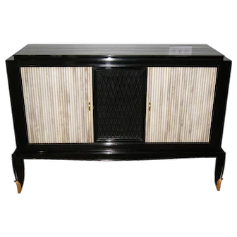 Black Lacquered Art Deco Sideboard Buffet by Jean Pascaud (1902-1996)