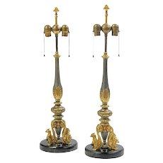 Pair E.F. Caldwell Table Lamps Gilt Metal & Marble Renaissance Revival