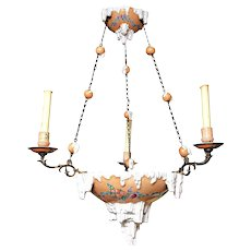 Emile Galle Faience Pottery & Bronze Chandelier