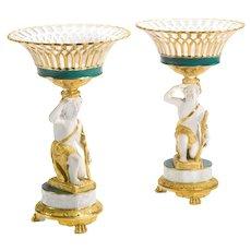 Pair of Paris Porcelain Figural Basket Form Tazzas