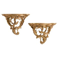 Pair Large Antique Louis XV Style Carved Giltwood Brackets
