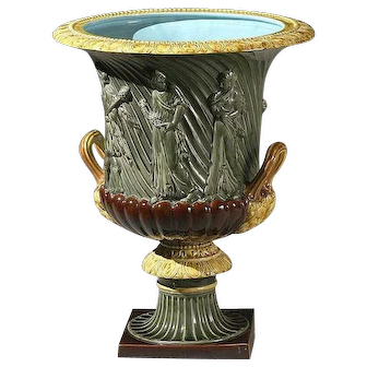 Large Sarreguemines French Majolica Campana Form Urn Planter