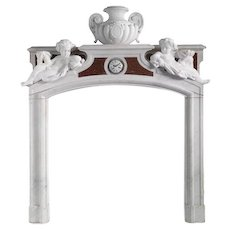 Antique French Neoclassical Marble Fireplace Surround