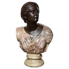Antique Bronze and Marble Bust Sculpture of Greek Niobe