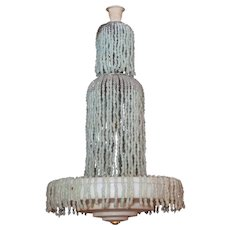 Art Deco Style Alasbaster Stone and Glass Chandelier After Armand Albert Rateau