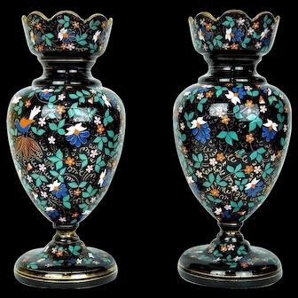 Pair Antique Moser Bohemian Enamelled Black Glass Vases
