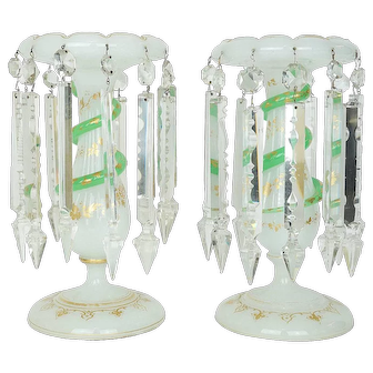 Pair French Opaline Glass Lusters Candlesticks