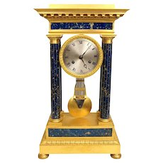 Antique French Empire Style Bronze and Lapis Lazulli Stone Mantle Clock