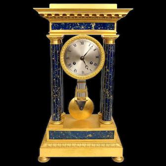 Antique French Empire Style Bronze and Lapis Lazulli Stone Mantle Clock