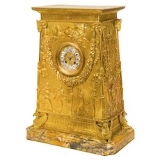 Empire Empire Style Gilt Bronze Clock After Percier and Fontaine