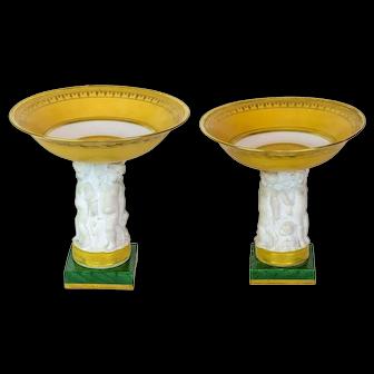 Pair Antique Figural Parcel Gilt Bisque Porcelain Tazza