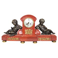 Tiffany and Co. Rouge Marble Mantel Clock