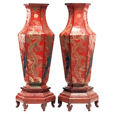 Pair Palatial Antique Chinese Qing Dynasty Red Laquer Vases