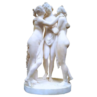 Alabaster Sculpture of the Three Graces After Antonio Canova