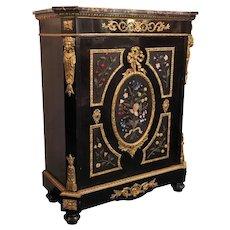 Antique French Napoleon III Ebonized Meuble d'Appui Cabinet