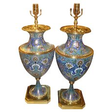 Pair French Champleve Enamel Bronze Table Lamps