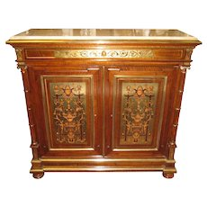 Antique Renaissance Style Walnut Sideboard Side Cabinet