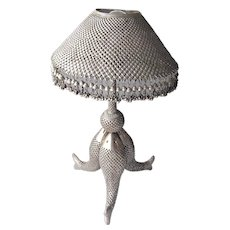 Vintage Indian or Persian Silver Table Lamp with Fish Motif