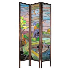 Arts & Crafts Period Stained Glass Screen Room Divider