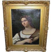 19th Century Italian Master Luigi del Buono Female Portrait Oil Painting After Sebastiano del Piombo