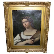 19th Century Italian Master Luigi del Buono Female Portrait Oil Painting After Sebastiano del Piombo