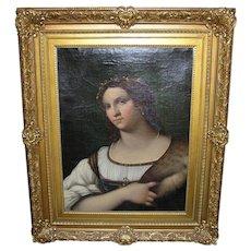 Italian Luigi del Buono Portrait Oil Painting After Sebastiano del Piombo