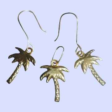 Summery 18 Carat Solid Gold Palm Tree Tiny Earrings and Pendant