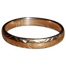French 18 Carat White Gold Wedding Ring