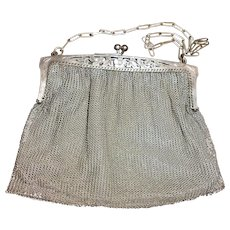 French Silver Plated Large Chainmail Purse with Decoupé Flower Decoration, circa 1900