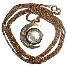 1950s Sorna Moon Pendant Watch with Moonstone & Diamond Pastes