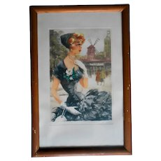 1950s Signed Veder Aquatint Engraving of Beautiful Lady at the Moulin Rouge, Paris