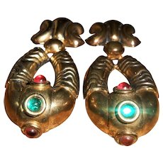 1960's Big Signed Cabochon Hoop Clip-On Earrings