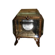 French 19th Century Glass Display Box & Silver Pocket Watch