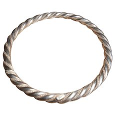 Native American Solid 900 Coin Silver Twisted Bangle