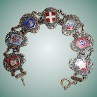 Ski Season Art Deco French Alps AA Lyon Enamel Souvenir Bracelet
