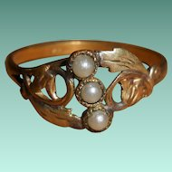 Antique French Art Nouveau Bi Colored Gold Filled Ring