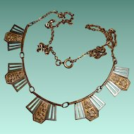 French Art Deco Chain Necklace with Rose Decorated Links