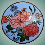 Art Deco Cloisonne Enamel Flower Brooch, Marked
