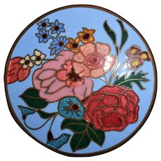 Art Deco Cloisonne Enamel Flower Brooch, Marked