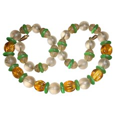 Art Deco Frosted Art Glass Bead Necklace