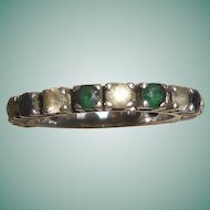 French Art Deco Silver Emerald and Diamond Paste Eternity Ring
