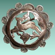 Art Deco Silver Vermeil Leaping Stag Brooch, circa 1920