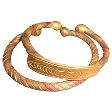 Mid 20th Century Pair of Berber Tuareg Twisted Copper Bangles