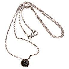 Black Diamond and Silver Pendant Necklace