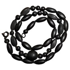 Victorian Mourning Necklace of Matte Black Onyx Beads Hand Knotted on Silk