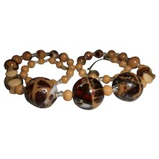 """Art Deco Bohemian Glass """"End of the Day"""" Coffee Bead Necklace"""