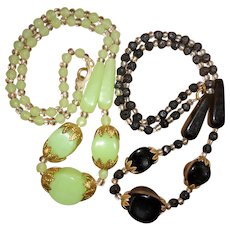 Pair of Art Deco Bohemian Glass Bead Necklaces