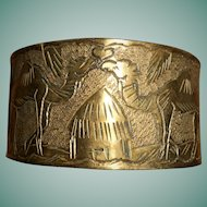 COURTING CAMELS Moroccan Copper/Brass Hand Engraved & Hammered Bangle