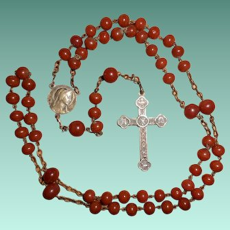 French Late 19th/Early 20th Century Carnelian Rosary with Vignettes Cross