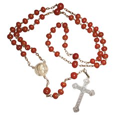 Early 1900s French Carnelian Bead Rosary with Early Christian Symbols Cross